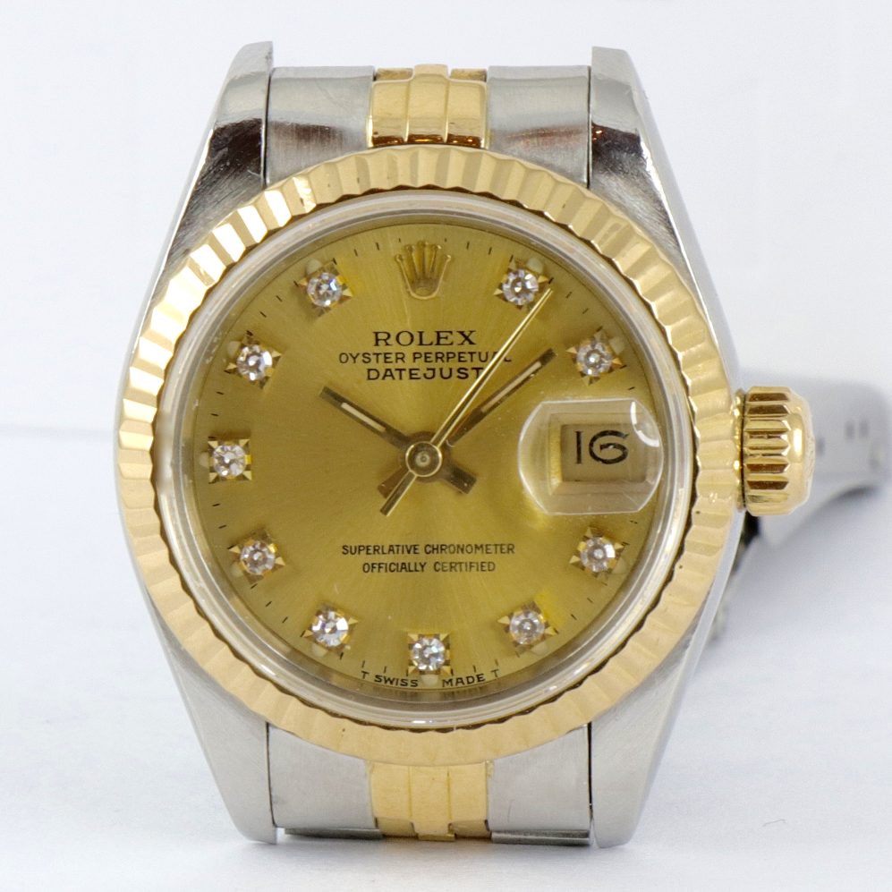 verkauft rolex datejust diamonds stahl gold box. Black Bedroom Furniture Sets. Home Design Ideas
